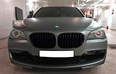 Полная оклейка BMW 7-ой серии F01 пленкой KPMF Matt Anthracite