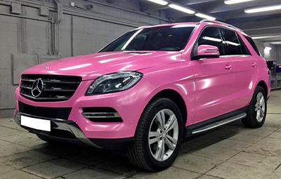 Полная оклейка пленкой розовый металлик Mercedes-Benz ML