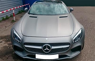 Полная оклейка Mercedes-Benz AMG GT пленкой серый матовый металлик