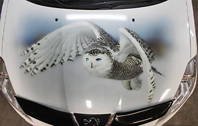 Винилография ввиде совы на капот Peugeot 4007