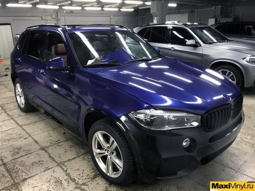 Полная оклейка BMW X5 F15 в Deep Blue Metallic