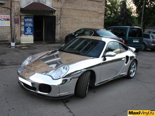 Полная оклейка Porsche 911 Turbo хромированной пленкой