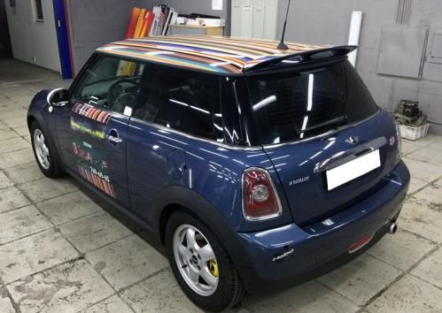 Брендирование Mini Cooper для компании Brit Garage
