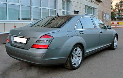 Оклейка пленкой Mercedes-Benz S 500 W221 в серый матовый металлик