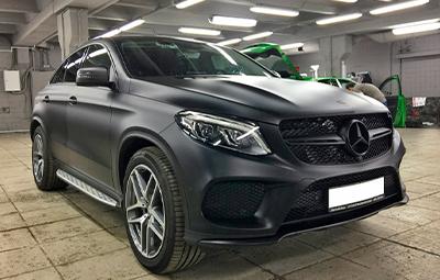 Полная оклейка Mercedes-Benz GLE Coupe прозрачной матовой пленкой