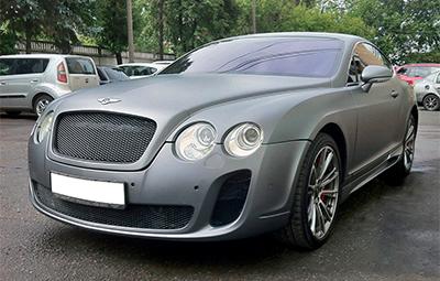 Полная оклейка Bentley Continental GT пленкой серый матовый металлик