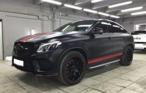 Полная оклейка Mercedes-Benz GLE coupe черной матовой пленкой