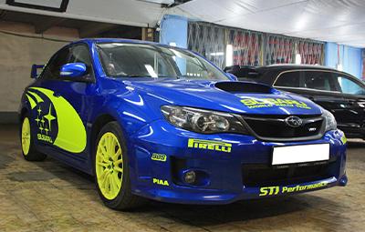 Изготовление наклеек Subaru World Rally Team для Impreza WRX STI