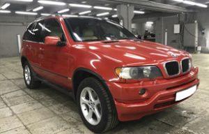 Полная оклейка BMW X5 в красный металлик 5
