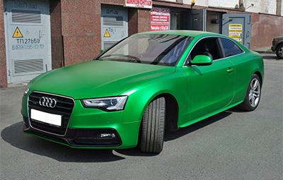 Полная оклейка Audi A5 в зеленый металлик