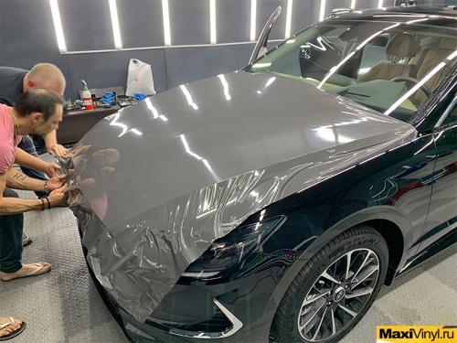 Оклейка верхней части Hyundai Sonata в серый глянец