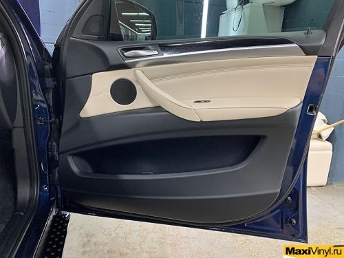 Оклейка салона BMW X6 под карбон